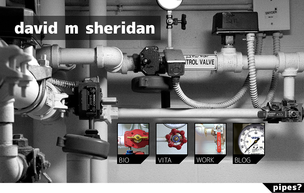 splash page image of pipes and text David M Sheridan